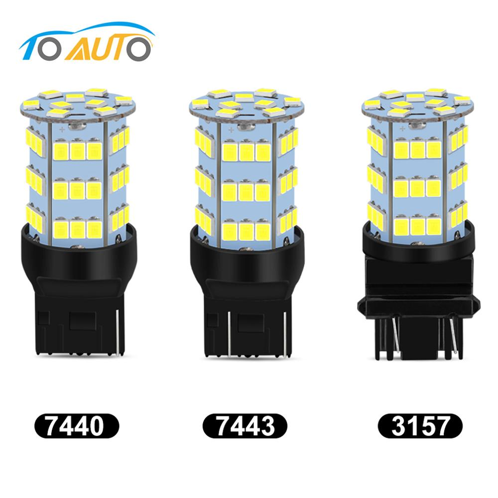 T20 7440 7443 T25 3157 LED Bulbs Car Lights Auto Lamp Reverse Brake Light 12V White Red Amber image