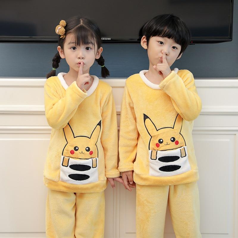 Children Pajamas Cartoon Rabbit Bear Flannel Girl Boy Pajama Set Winter Kid's Sleepwear Suit Homewear O-neck Long Sleeve Pyjamas