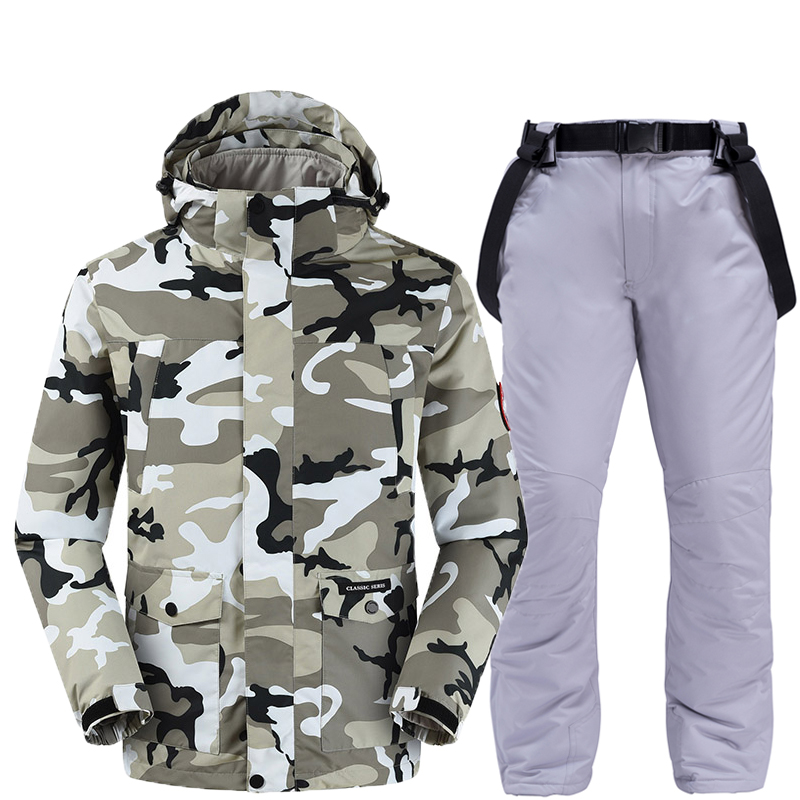 Nouvelle mode Camouflage hommes neige costume snowboard vêtements hiver en plein air tenue de sport imperméable vestes de ski + pantalon de ceinture de neige