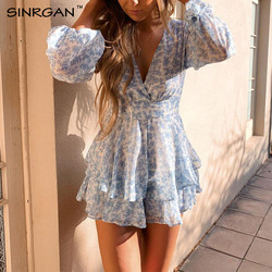 Комбинезон SINRGAN женский с полупрозрачными рукавами, милый Ромпер в полоску с оборками и цветочным принтом, милая одежда для сна, голубой, ком...