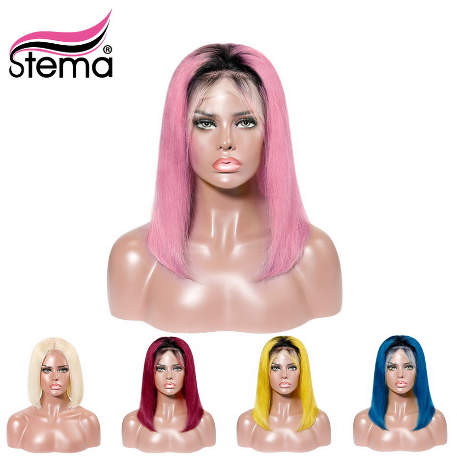 Stema Ombre Short Bob Lace Front Wig 1b 613 Blonde Blue Pink Red Yellow Straight Remy Human Hair Wigs Multicolor to Choose image