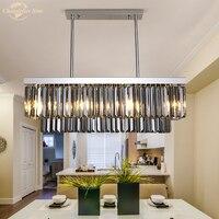 Modern LED Square Crystal Chandeliers Lighting for Living Room Bedroom Kitchen Restaurant Hotel Decoration Smoky Prism Lamp
