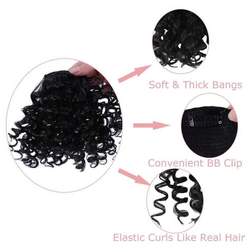 Aosi 6 Inch Afro Kinky Krullend Bang Voor Vrouw Nep Fringe Clips In Pony Pruik Haar Sluiting Natuurlijke Zwarte Synthetische haarverlenging