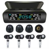 VODOOL TY17/TY18 Solar coche TPMS sistema de supervisión de presión de neumáticos LCD reloj visualización de la hora Auto neumático alarma de temperatura con 4 Sensor