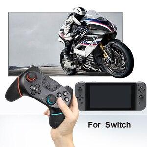 Image 3 - Gamepad sem fio bluetooth para nintendo switch pro ns switch pro controlador de joystick de jogo para console de interruptor com alça de 6 eixos