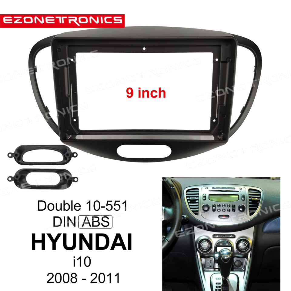 1-2Din Car DVD Frame Audio Fitting Adaptor Dash Trim Kits Facia Panel 9inch For <font><b>HYUNDAI</b></font> <font><b>i10</b></font> <font><b>2008</b></font> 09 10 11Double Din Radio Player image