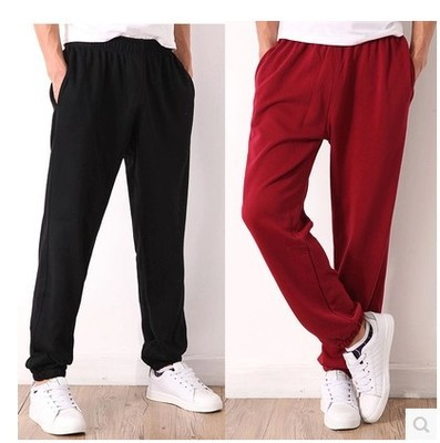 Spring Summer Athletic Pants Men Thin Trousers Straight-Cut Cotton Casual Pants Extra-large Sweatpants Loose-Fit Running Pants