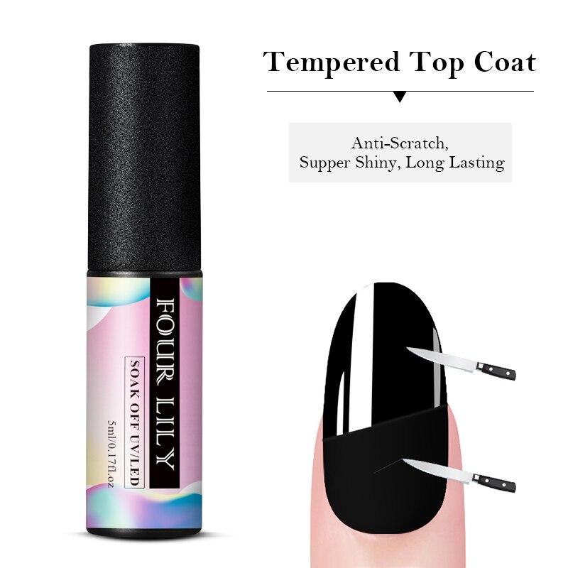 FOUR LILY Tempered Top Coat No Wipe Top Coat UV Gel Polish Soak Off Long-lasting Nail Art Gel Transparent Manicure Lacquer