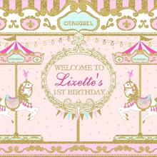 Backdrop Carousel Vinyl Personalized Photo-Studio Welcome Birthday Gold Custom Pink 7x5ft