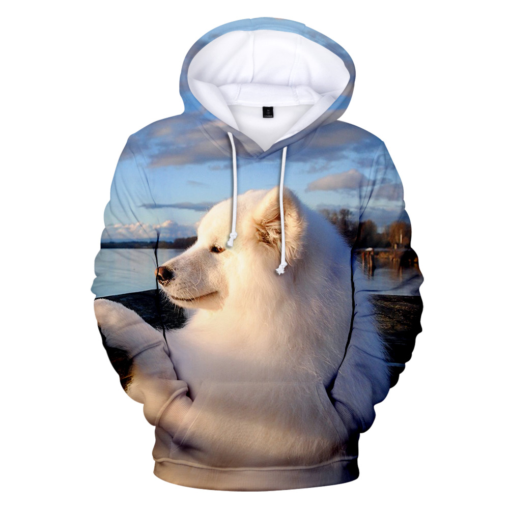 2019 Samoyed Hoodies 3D Print Sweatshirts Hot Sale Harajuku Long Sleeve Clothes Hooded Plus Size Samoyed Hoodies For Women