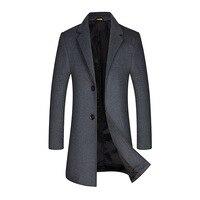 Men's Wool Coat Winter Cashmere Jacket Men Casual Windbreaker Long Slim Fit Trench Coat Men Thick Woolen Overcoat for Men XXXL