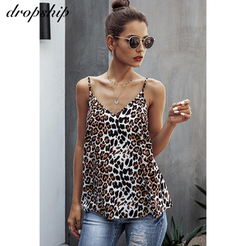 Dropship Sexy Summer Casual Tank Women Vest Leopard Tops Vest Sleeveless Strap Leopard Print Tank Camisoles V-neck Clubwear Tank fashionable u neck sleeveless anchor print tank top for women