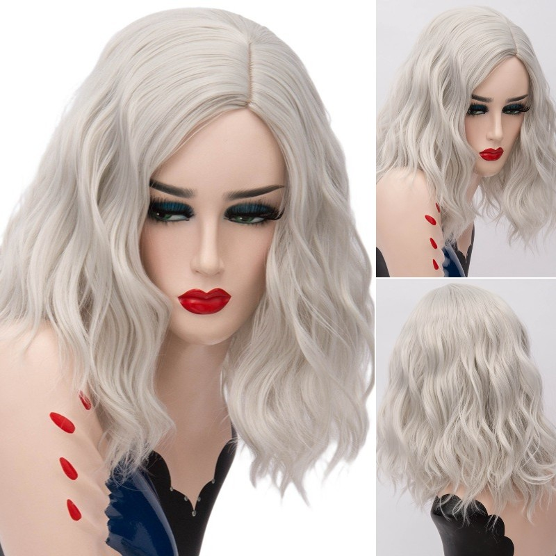 GAKA Women Short Silver Grey Wig Synthetic Hair Red For Women Cosplay Curly High Temperature Fiber