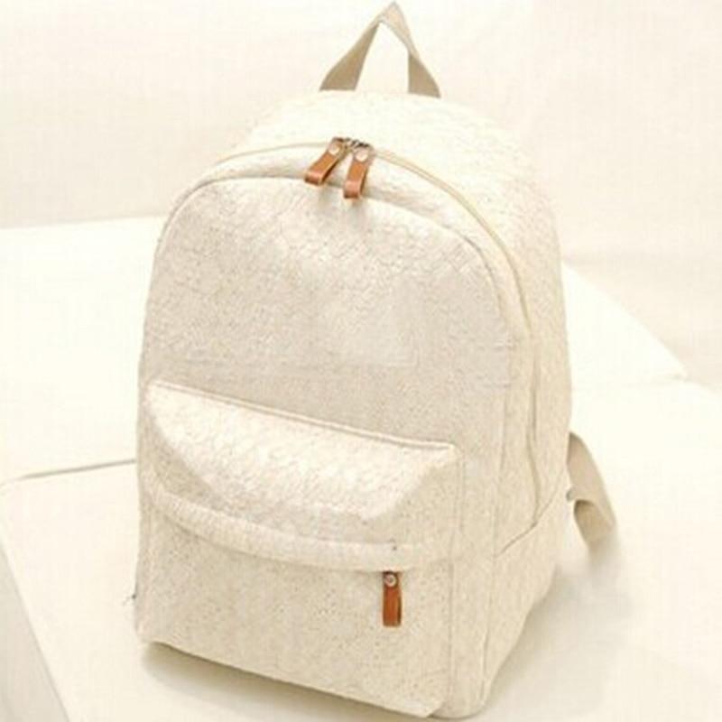 Lace Backpack For Student Women Shoulder Bags School Bags Teenager Girls Female Canvas Backpack Zipper Black White Travel  Bag