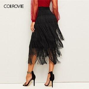 Image 2 - COLROVIE Black Layered Fringe Detail Pencil Skirt Women 2019 Summer Ladies Midi Skirt High Waist Bodycon Glamorous Solid Skirts