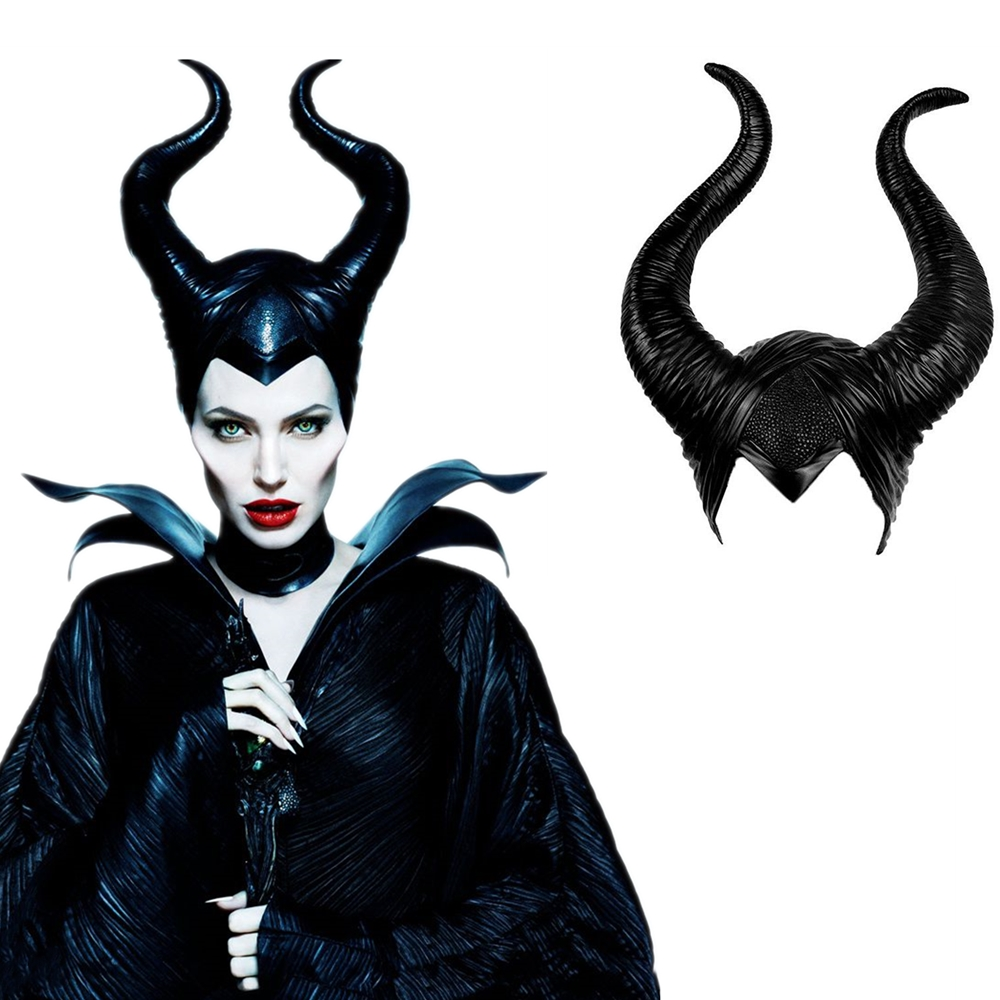 Maleficent Halloween Cosplay Maleficent Witch Horns Hat Headwear Mask Headgear Helmet Party Black Queen Halloween Party Costume