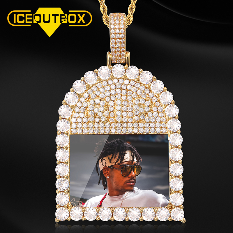 New Design Full Of Crystal Custom Made Picture Memory Medallions Solid Pendant Necklace For Men's Hip Hop Cubic Zircon Jewelry