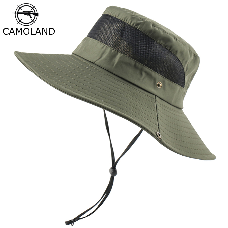 CAMOLAND Summer UV Protection Sun Hats Women Men Breathable Mesh Boonie Hat Outdoor Wide Brim Panama Hat Hiking Fishing Caps