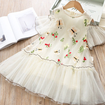 5279 Butterfly Flowers Embroidery Princess Baby Girl Dress 2020 Summer Party Wedding Kid Dress For Girl Wholesale Child Clothes