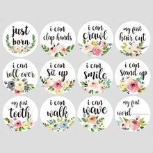 24Pcs Baby Month Stickers Milestone Newborn Pregnant Monthly Photograph Props F3ME