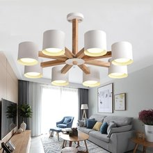 купить Modern wood chandelier With Iron White Lampshade Wood Lamp body Living room Bedroom Kitchen Wooden chandelier lighting fixtures дешево