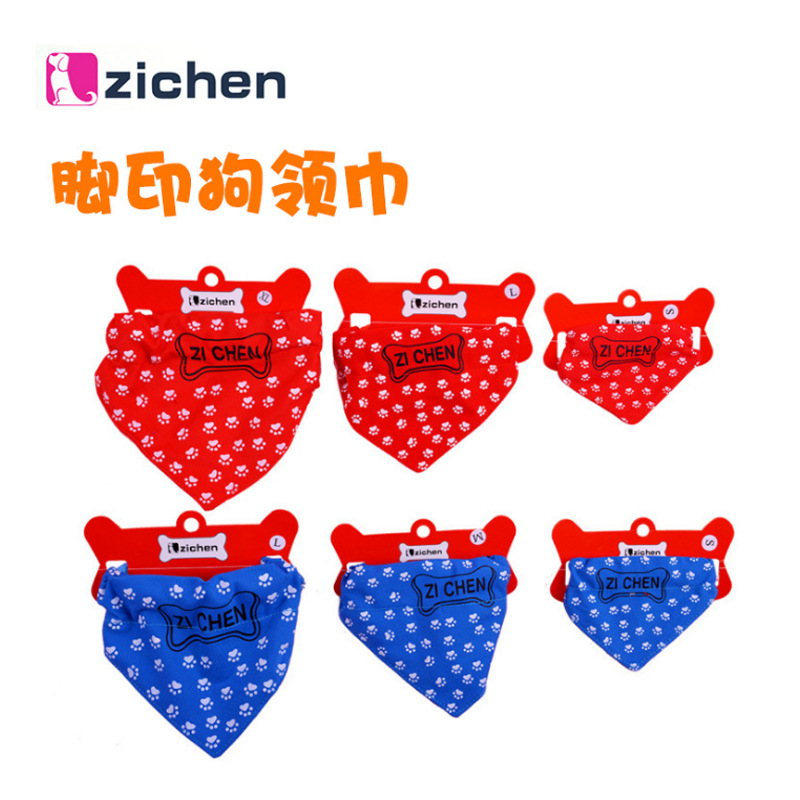 Shenquan Seven Celebrity Style Scarf Pet Dog Cat Triangular Binder Small Foot Print Printed Kerchief Bibs Scarf Feet
