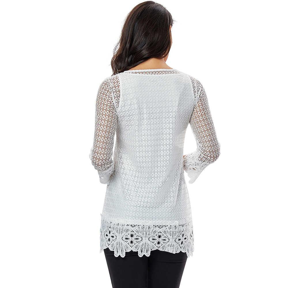 YTL Женские Летние Осенние кружевные топы из двух частей, белые вязаные крючком элегантные женские блузки 5XL 6XL 7XL блузка рубашка H249