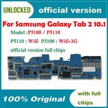 Desbloquear para samsung galaxy tab 2 10.1 p5100 p5110 placa-mãe wifi & 3g 1g ram 16g rom placa lógica do telefone original