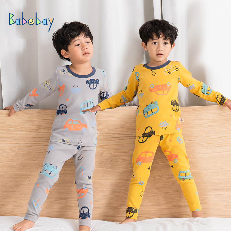 High Quality Boys   Pajamas   Warm Kids Sleepwear Children 100% Cartoon Clothing   Set   Baby Long Sleeve Pijamas Home Clothing For Boys