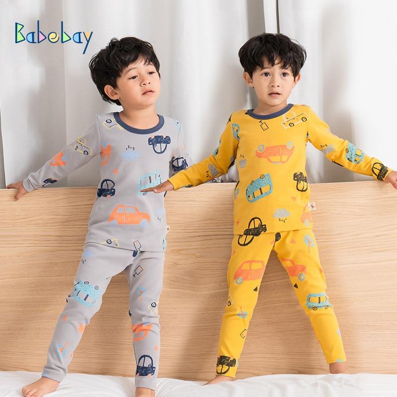 High Quality Boys   Pajamas   Warm Kids Sleepwear Children 100% Cartoon Clothing   Set   Baby Long Sleeve Pijamas Home Clothing For Boys