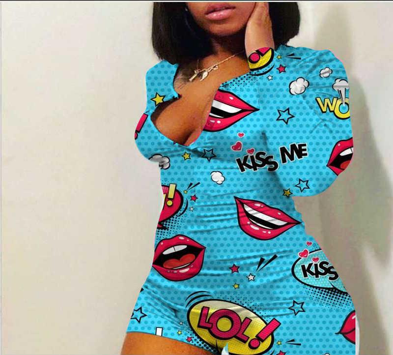 Tulum kadın pijama dudak baskı uzun kollu şort tulum seksi 2020 Romper ve tulum kadın kıyafeti için pijama tulum