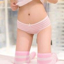 Fashion Striped Women Underwear Free Shipping Bikini Womens Cotton Panties Girl Briefs Cute