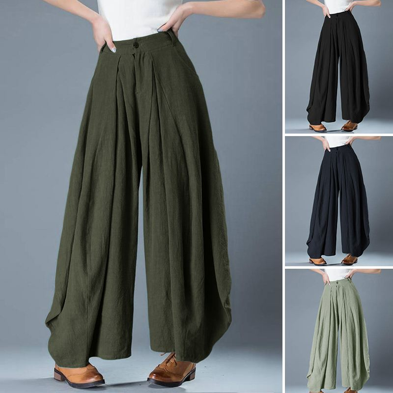 Stylish Solid Wide Leg Pants Women's High Waist Trousers ZANZEA 2020 Casual Button Long Pantalon Palazzo Female Oversized Turnip