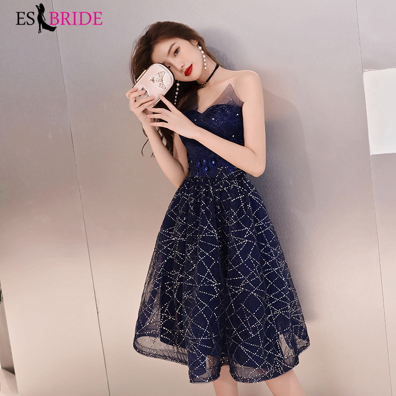 Sparkling Cocktail Dresses Red/ Deep Blue Tulle Short Dresses Elegant  A Line 2019 Special Occasion Party Dresses ES2836 Latest