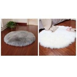 Promocja! 2 sztuk Faux kożuch wełniany dywan 30X30 Cm puszyste miękkie Longhair dekoracyjny dywan poduszki krzesło Sofa Mat okrągły, szary