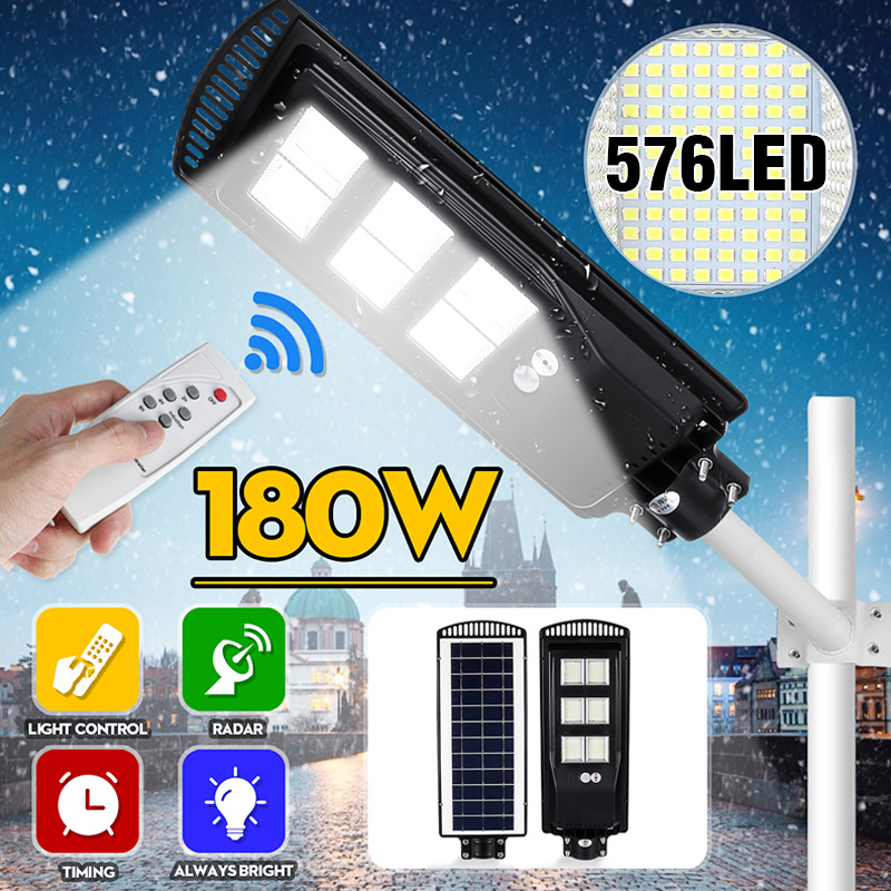 80W 140W 180W Solar Street Light PIR Motion Sensor LED Outdoor Garden Wall Lamp With Remote Controller