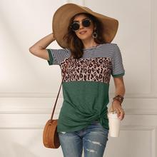 Женская футболка с леопардовым принтом в полоску, Повседневная модная уличная футболка с коротким рукавом, хлопковая футболка, лето 2020, для женщин, футболка с принтом, повседневная, уличная мода, с коротким рукавом