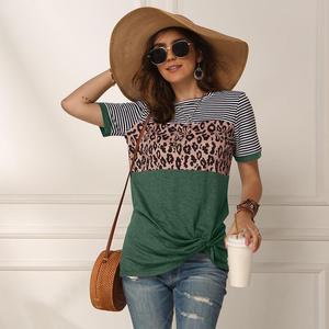 Image 1 - Women 2020 Summer Tee Shirt Female Leopard Stripe Print T Shirt Casual Tops Fashion Streetwear Short Sleeve Cotton T shirt S XXL