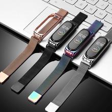 Для Mi Band 4 Strap Металл миланский Нержавеющая сталь Для Xiaomi Mi Band 4/3 NFC ремешок совместимый Браслет на запястье Pulsei