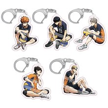 Acrylic Keychain Haikyuu Men Keyring Karasuno-Nekoma Anime High-School Battle for Doomed