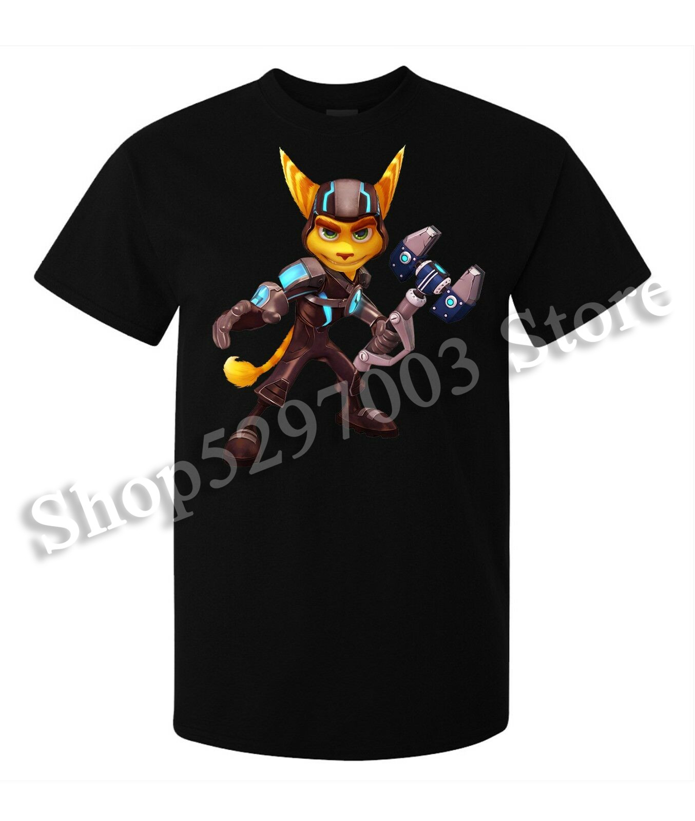 Ratchet And Clank Game Character Ratchet Men'S (Woman'S Available) T Shirt Black Loose Size Tee Shirt image