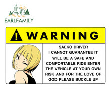 EARLFAMILY 13cm x 7.6cm Cartoon naklejki samochodowe dla Saeko ostrzeżenie Slap naklejka Anime Vinyl JDM naklejki na okna akcesoria samochodowe