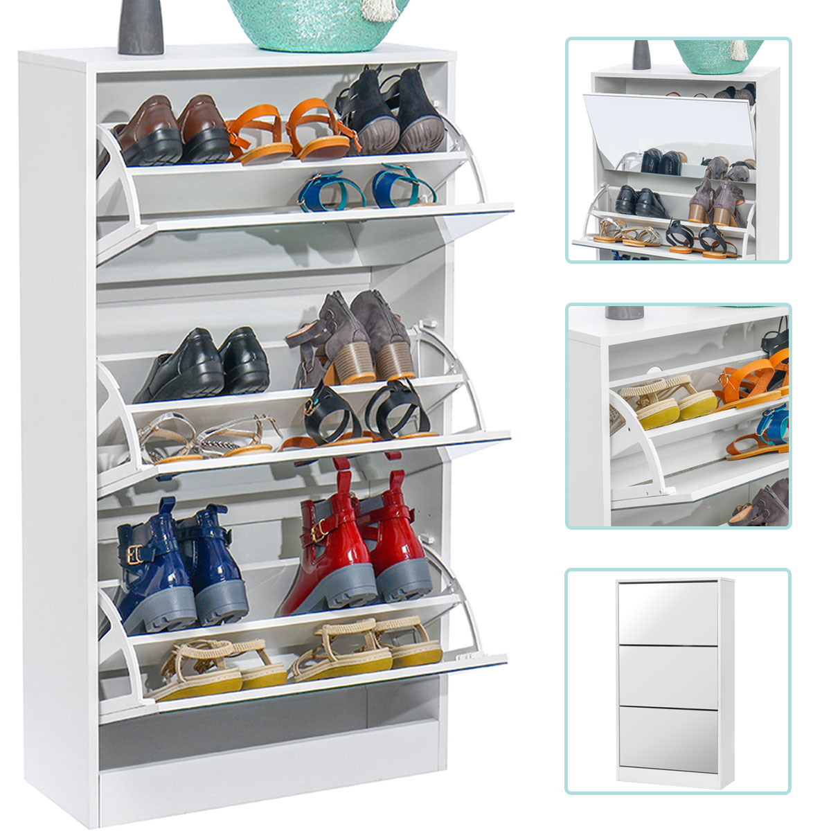 Flip Bucket Shoe Simple Home Space Multi-Layer Door Dustproof Porch Solid Wood Shoe Rack Shoes Cabinet Mirror 24Pairs
