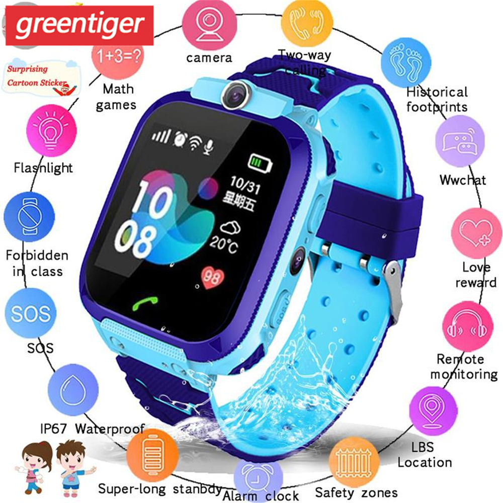 Waterproof Kids Smart Watch SOS Antil-lost Smartwatch Baby 2G SIM Card Clock Call Location Tracker Smartwatch PK Q50 Q90 Q528.(China)