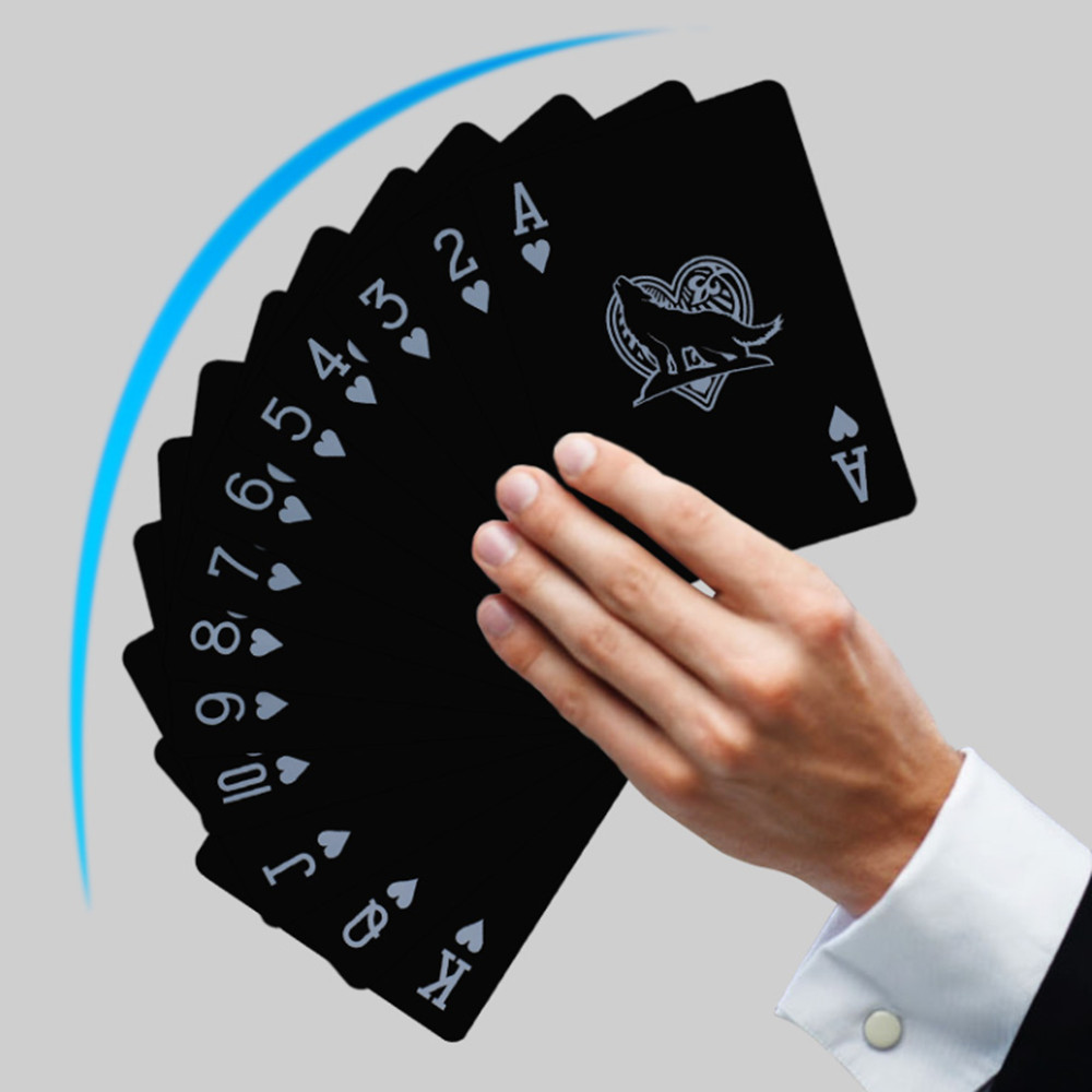54pcs Black Waterproof Playing Cards Deck of PVC Poker Card Classic Toys Magic Trick Tools Creative Gift Family Party Game