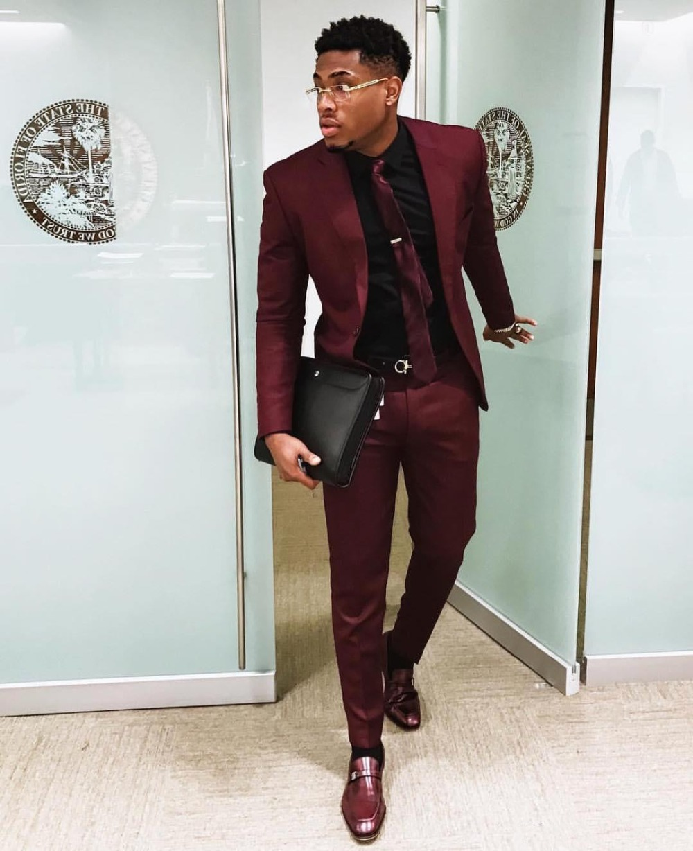 36Burgundy Two Pieces Mens Suits Slim Fit Wedding Grooms Tuxedos Cheap One Button Formal Prom Suit Jacket And Pants