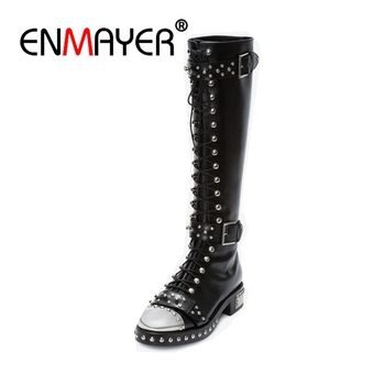 ENMAYER Brand design Genuine leather Big size 34-43 Rivets Punk Women boots printing buckles women shoes Knee high boots CR350