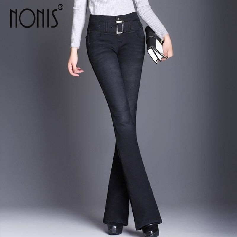 Nonis Warm Velvet 2019 High Waist Jeans Women Vintage Skinny Jeans Female Slim Elastic Pants Women Denim Pants With Belt