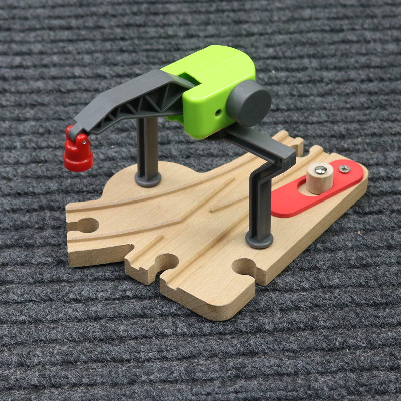 Assembly of building blocks fittings for toy car of wooden track crane Channel-changing bifurcation rail