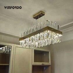2021 Luxury Modern LED Crystal Chandelier Lighting Fixture in Chrome / Gold Pendant Light For Dinning Room AC110V 220V